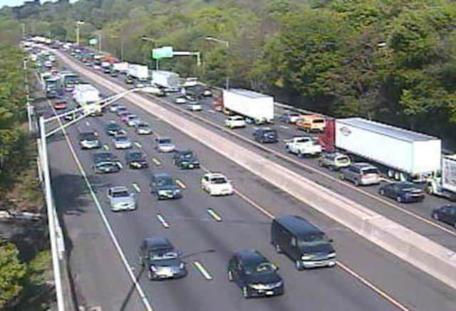 Traffic is slow on I-95 North after an accident.