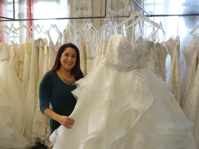 Christina Stec of Fair Lawn owns Sisters Bridal Boutique in Garfield.