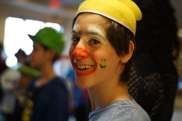 Eitan Hiller acts as a mitzvah clown, in a program offered by Ayrevut in Bergenfield.