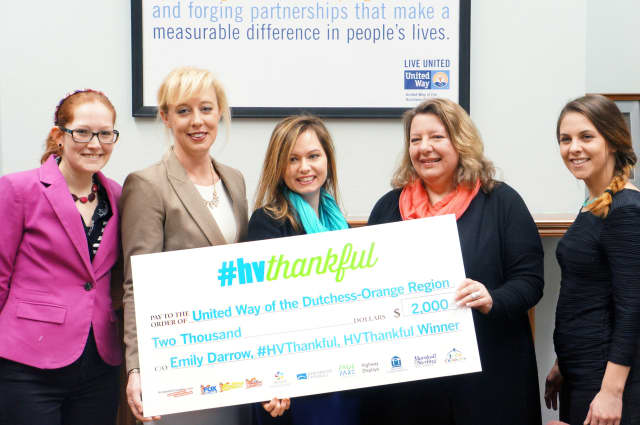 From left, Sarah Hurd, Ashworth Creative; Kimberly Kochem, United Way of the Dutchess and Orange Regions, Rachel Johnson, United Way of the Dutchess and Orange Regions, Emily Darrow, #HVThankful winner; and Brianne Radtke, Ashworth Creative.