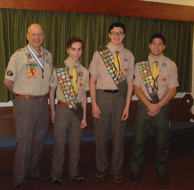 Troop 154's fall Court of Honor recognized Matt Salton, Matthew Galea, and Dunlin Stathis for their hard work and time commitment in earning the rank of Eagle Scout.