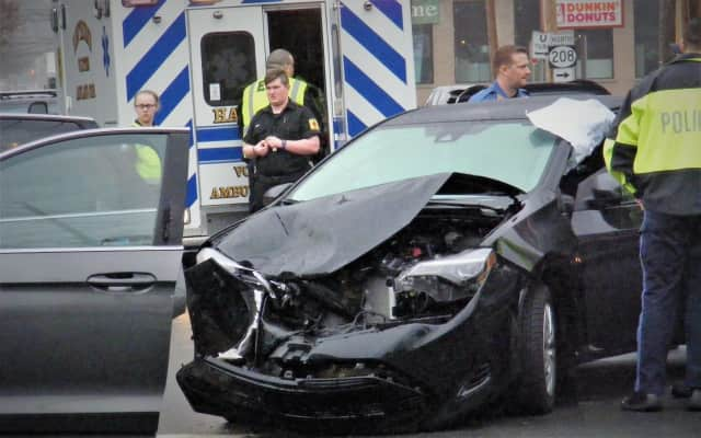 The sedan driver's injuries didn't appear life-threatening.