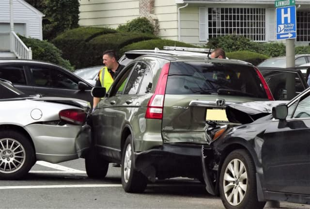 Three-vehicle pileup at Linwood and North Maple avenues Monday afternoon.