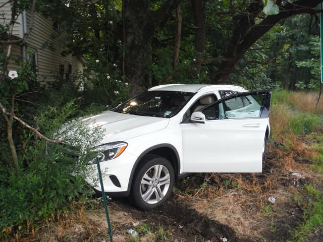 The Mercedes tore into a chainlink fence on Route 17 in Ridgewood.