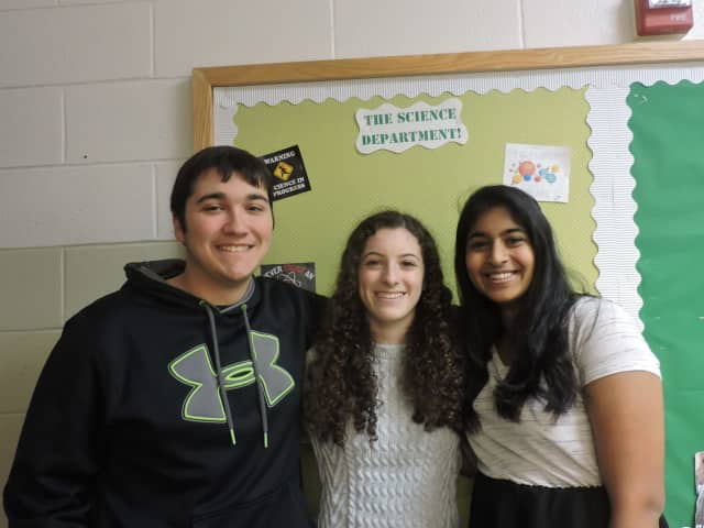 From left, Pleasantville High School seniors Vincent Ferraiuolo, Ana Malfa and Silpaa Gunabalan are winners of prestigious science research awards.