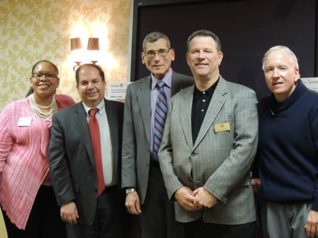 The Teaneck Chamber of Commerce had its 2016 general membership meeting and election of officers Wednesday evening. From left are Yolanda Andrews, Alan Ezrapour, Larry Bauer, Joel Goldin, and Patrick Finnegan.
