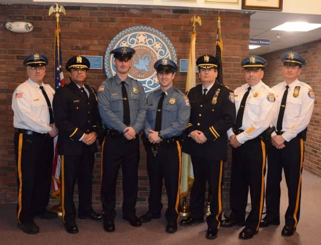 Forrest Diedolf, third from left, and Nicholas Tanelli were sworn into the Paramus Police Department.