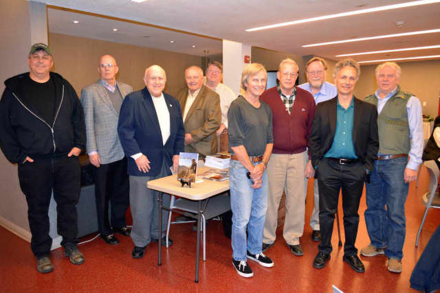 Veterans from the program who attended a Dec. 8 reception included, from left, Matt Phair, James McCauley, Peter Stone, Matt Coffey, Rod Carlson, Terry Solomon, Nick Lamonica, George Kelly, program instructor David Surface and Randy Swan of Fordham.