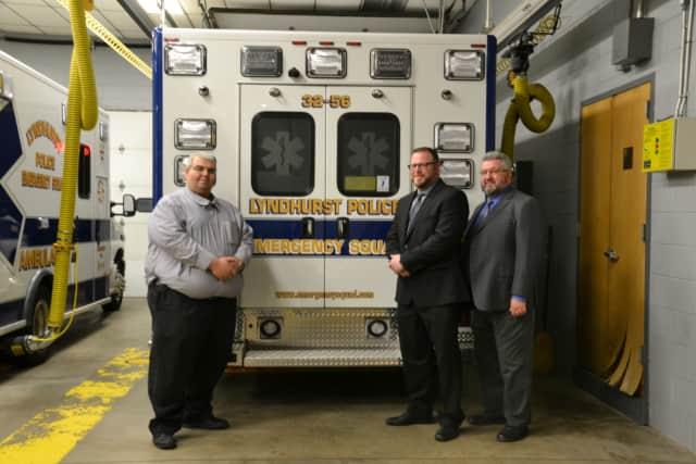 From left: Captain Tarcisio Nunes Lyndhurst Police Emergency Squad, Commissioner John J. Montillo, Jr, Commissioner of Public Safety, Commissioner Theodore J. Dudek Commissioner of Revenue and Finance.