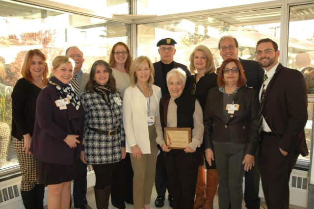 "Mary ""Edie"" Meeks with Northern Westchester Hospital staff."