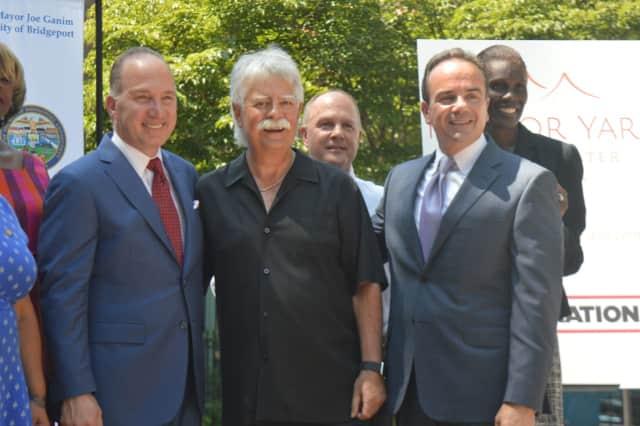 Developer Howard Saffan, Live Nation promoter Jim Koplik and Bridgeport Mayor Joe Ganim announced plans for the new Harbor Yard Amphitheater Thursday.