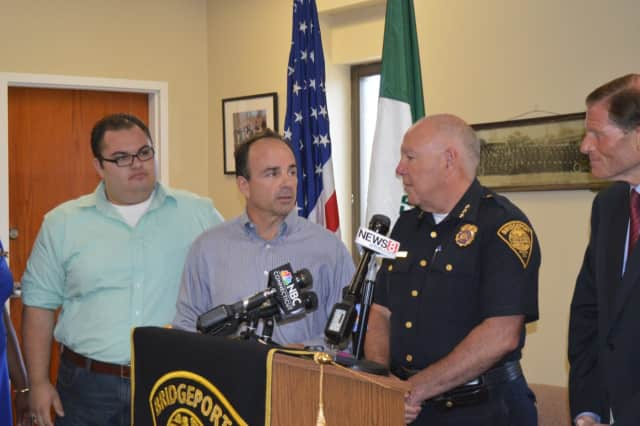 City Council member Anthony Paoletto, Mayor Joe Ganim, Police Chief AJ Perez and U.S. Sen. Richard Blumenthal discuss an ambush-style shooting Sunday morning, Aug. 21, in Bridgeport during a press conference later that day.