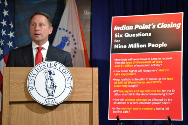 County Executive Rob Astorino at a press conference announcing he is filing two lawsuits over the closure of Indian Point.