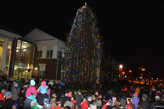 Mount Kisco's annual tree lighting will take place on Friday evening. Pictured is a gathering from a previous year.