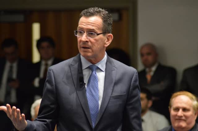 Gov. Dannel Malloy talked about state layoffs Tuesday.