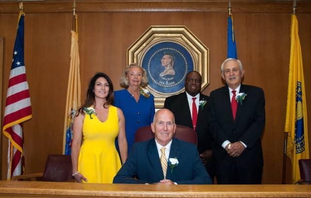 From left: Councilwoman Stephanie Von Rudenborg, Deputy Mayor Kathleen Canestrino, Mayor John Labrosse, Deputy Mayor David Sims, Councilman Leonardo Battaglia.