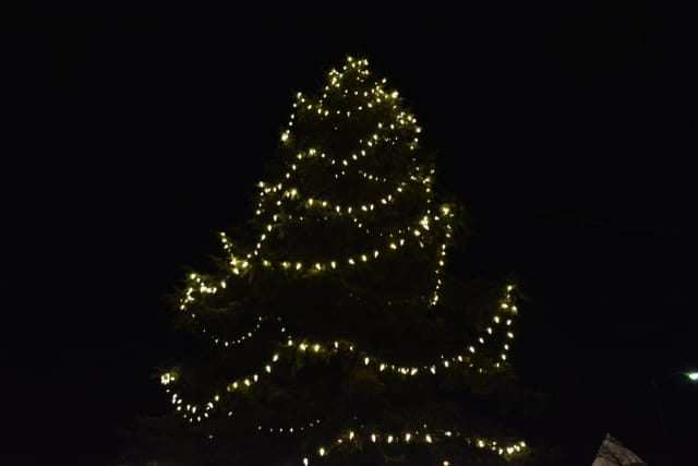 The Bedford Village Christmas tree, pictured during a previous holiday season.