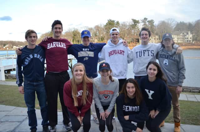 Saugatuck Rowing Club's seniors who have received Early Decision college acceptances. See story for IDs.