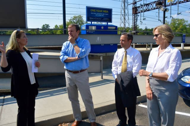 Work to replace platforms at the Noroton Heights train station began this week. Shown in 2015, Jayme Stevenson, Chris Murphy, Bob Duff and Terrie Wood discuss development projects and necessary upgrades at the station.