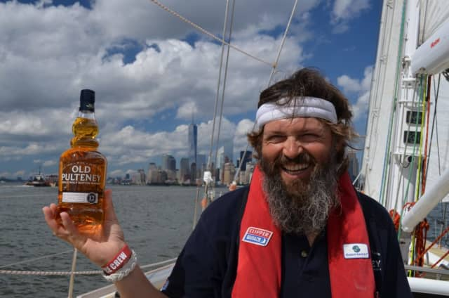 An Old Pulteney round-the-world crewmember in New York City recently. Who wouldn't want to share a Scotch with him?