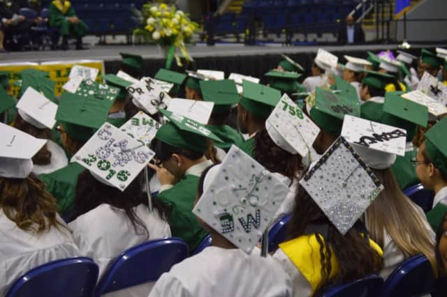 A sea of decorated mortarboards from the Class of 2016 at Bassick High School.