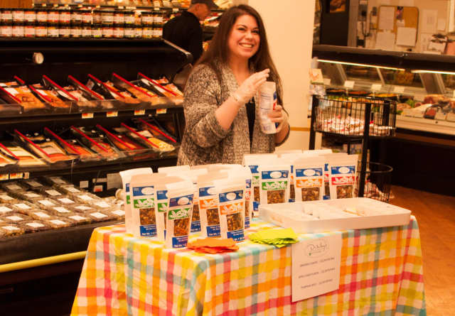 Erin Tamucci, Tom and Mary's daughter, at a recent demo at Village Market in Wilton.