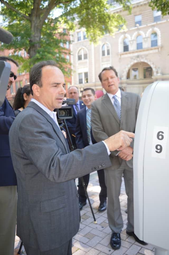Bridgeport Mayor Joe Ganim tried one of the state-of-the-art parking meters installed downtown in 2016.