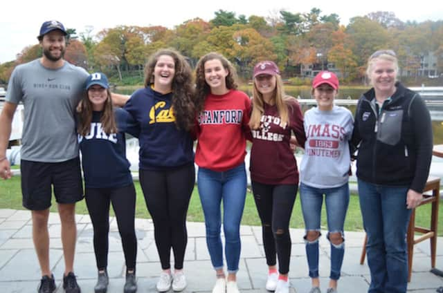 Gordon Getsinger, SRC junior girls head coach; Eden Schumer; Sydney Kend; Kelsey McGinley; Brooke Schwab; Natalie DiLeo; and Sharon Kriz, SRC director of rowing and junior boys head coach. See story for rowers' hometowns and their college choices.
