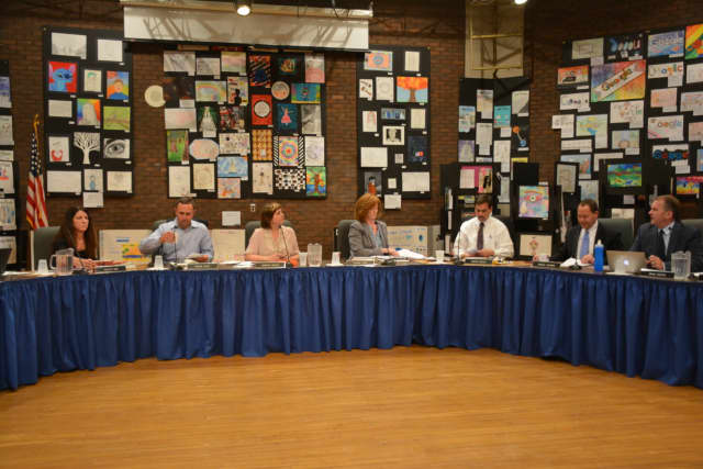 The Bedford Central school board, pictured at its May 25 meeting.