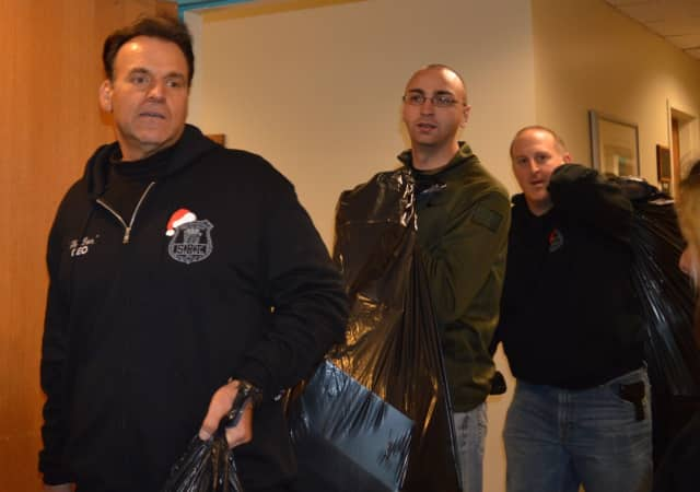 Former Closter Police Sgt. Don Nicoletti during a PBA Toy Drive delivery at the Sanzari Hospital at HUM.