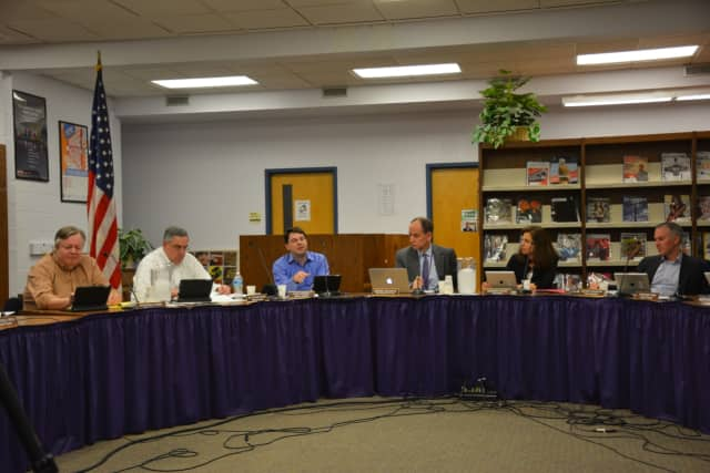 Three seats on the Katonah-Lewisboro school board are up for election next month. Pictured is the current board.