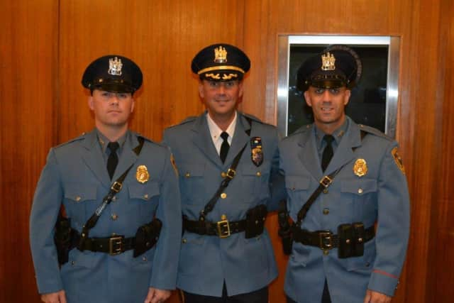 (l. to r.): Sgt. Mike Spina, Chief Patrick Rotella, Sgt. Craig Parrella