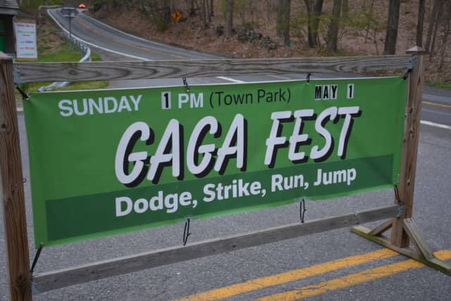 Gaga Fest is taking place at Pound Ridge Town Park on Sunday, June 12. Pictured is an earlier promotional sign for the event, which was originally set for May 1 but postponed due to inclement weather.