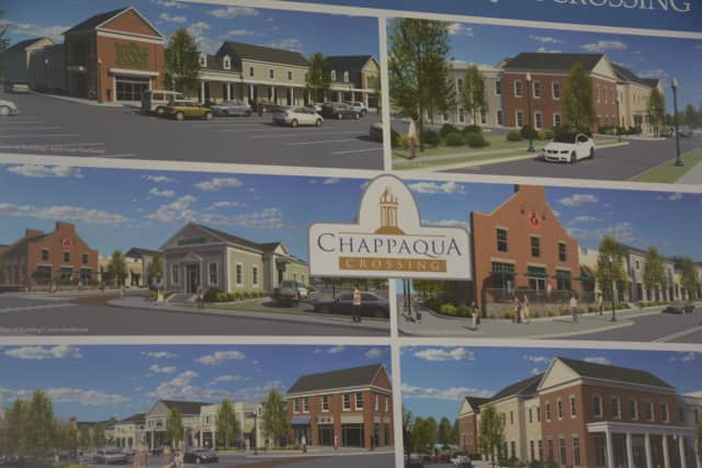 A retail renderings collage for Chappaqua Crossing. The collage was displayed at the project's groundbreaking in March 2016.