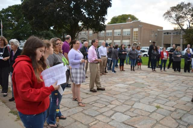 The Center for Family Justice will hold a vigil, like this one held last year, for Domestic Violence Awareness Month in Stratford on Tuesday.