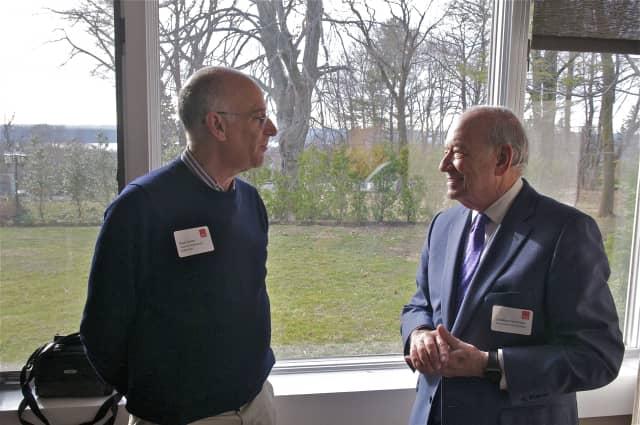 Greenburgh Town Supervisor Paul Feiner, left, talks with Pace University President Stephen J. Friedman.