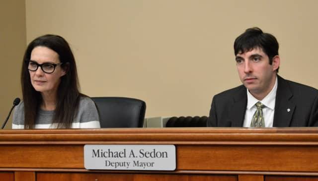 Mayor Susan Knudsen and Deputy Mayor Michael Sedon at Ridgewood's Village Council meeting Wednesday.