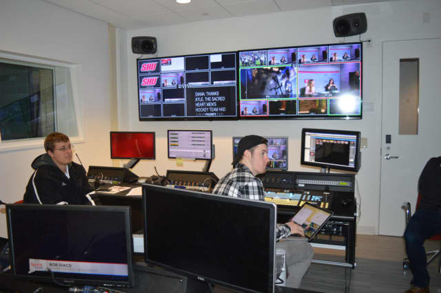 Frontier's new Vantage Sports Network broadcasts from the television station at Sacred Heart University.