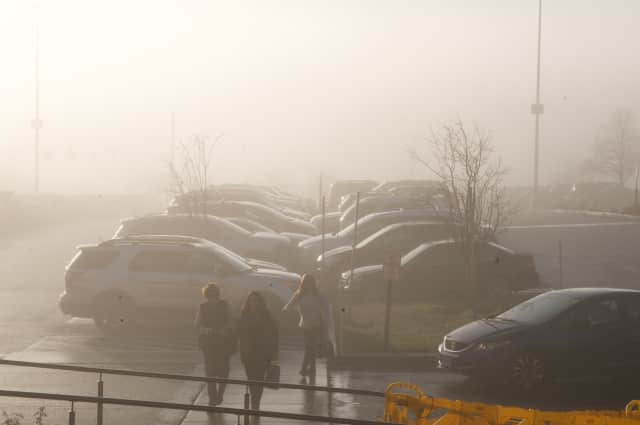 A foggy parking lot recently at the Danbury Fair Mall.