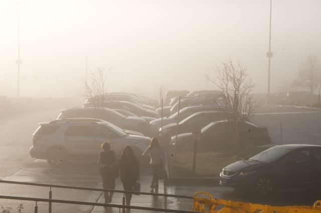 A foggy parking lot at the Danbury Fair Mall.