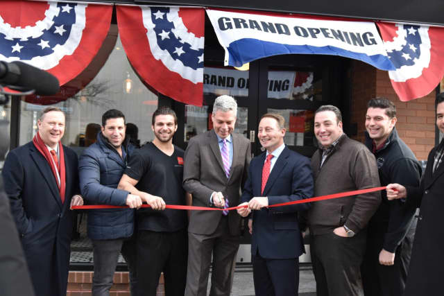Mayor Tom Roach and County Executive Rob Astorino at Pizzeria Veloce ribbon cutting in White Plains.