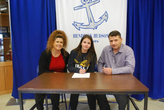 Hendrick Hudson High School senior Gabby Picciano, pictured here with her parents, Rocio and Joe, signed a National Letter of Intent to play soccer for Pace University.