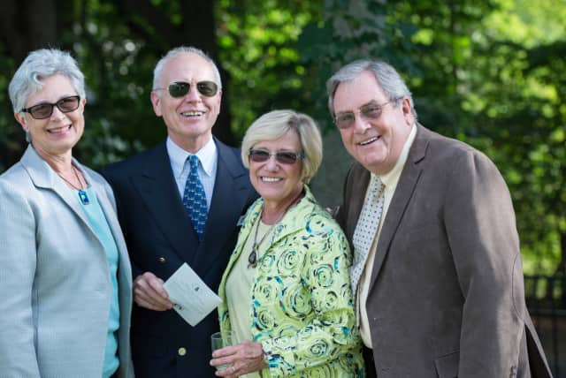 """Some of the attendees at the Ossining Food Pantry """"Celebration."""""""