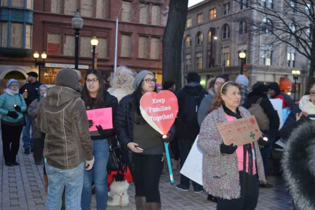 Protesters rallied last week against President Donald Trump's executive order on immigration in Bridgeport. A rally is scheduled Tuesday from 5 to 7 p.m. at Bridgeport City Hall.