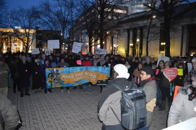 Make the Road CT and their allies gather last week for a rally to protest President Donald Trump's executive order on immigration. A rally is scheduled Monday from 6 to 8 p.m. at Bridgeport City Hall.