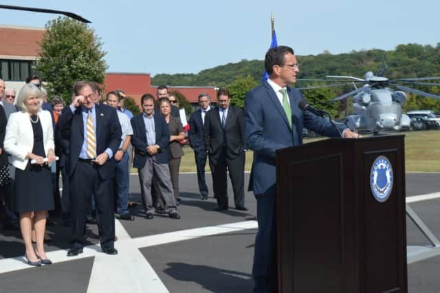 Gov. Dannel Malloy announces details of a plan to keep Sikorsky Aircraft in Stratford last week.