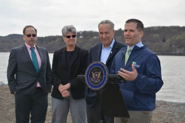 County Executive Marc Molinaro and Sen. Charles Schumer at Quiet Cove Riverfront Park