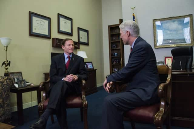 U.S. Sen. Richard Blumenthal meets with U.S. Supreme Court nominee Judge Neil Gorsuch. Blumenthal later said that Gorsuch had expressed disappointment with some of President Donald Trump's recent comments about judges.