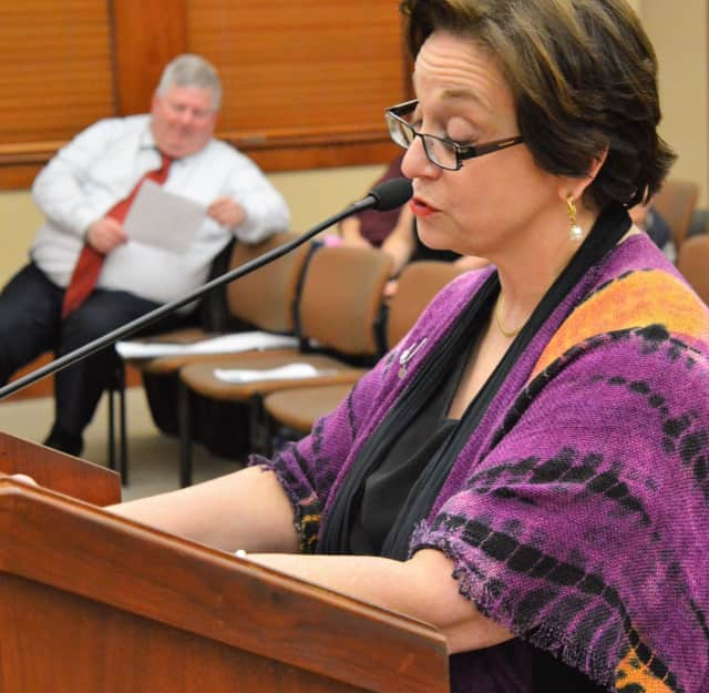The Rev. Jan Philips before the Ridgewood Council Wednesday.