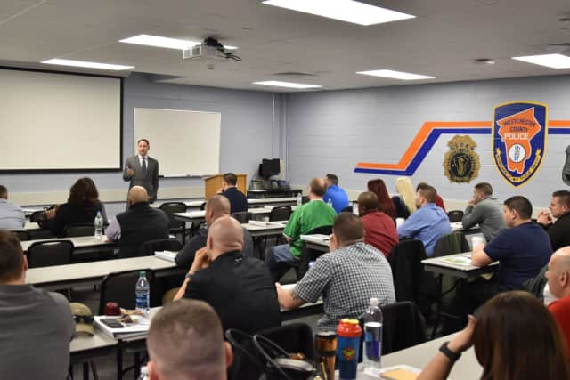Westchester County Executive Rob Astorino spoke to a Crisis Intervention Training class in Valhalla on Thursday.